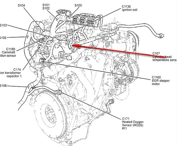 File Single Cylinder T Head engine  Autocar Handbook  13th ed  1935 together with RepairGuideContent further Ford Focus Zx3 2001 Parts Diagram Html together with Index2 additionally 28578 Fuel Leak. on location of coolant temperature sensor ford four cyl