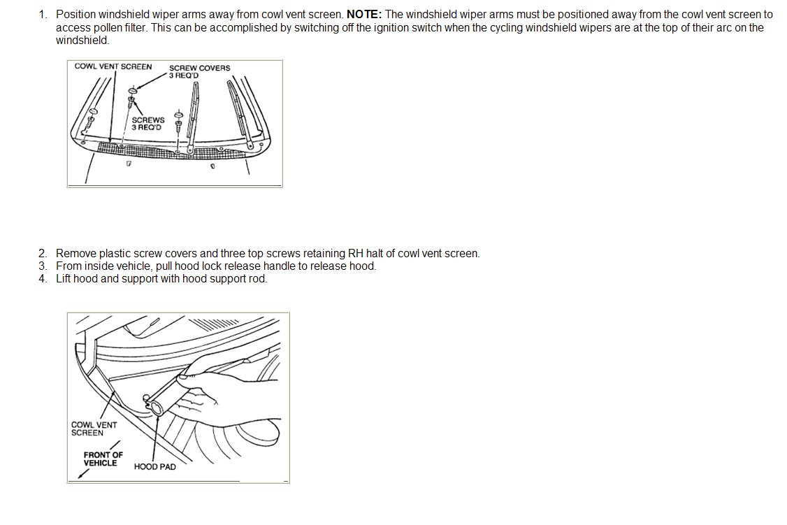 Enclosed are the instructions for cabin air filter replacement on your 1999  Contour.