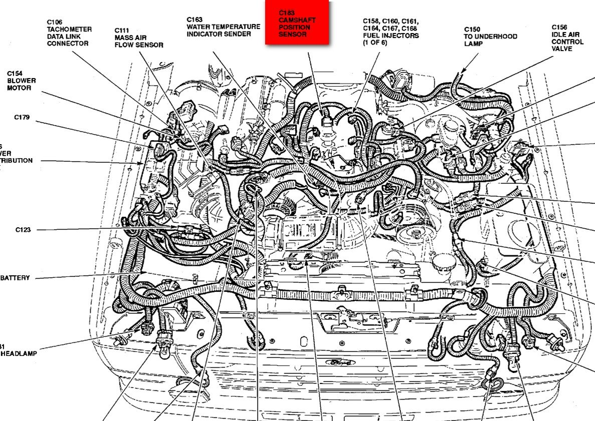 Ford Ranger 4 0 Engine Diagram Cylinder Arangement Wiring Library 2009 The Cam Sensor On Your 1994 Is Located Top Of At Very 94