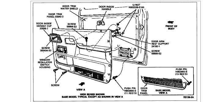 1991 ford ranger: ext..right interior door handle..door panel