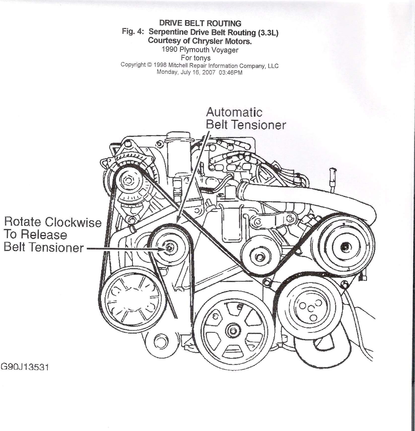 Change Belt Tensioner On 1990 Plymouth Voyager 33 Engine Diagram Graphic