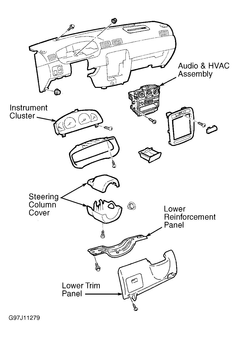service manual  2001 nissan sentra dash removal diagram