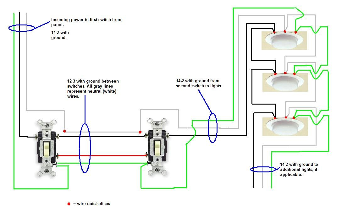 I am trying to wire a three way switch with multiple lights in ...