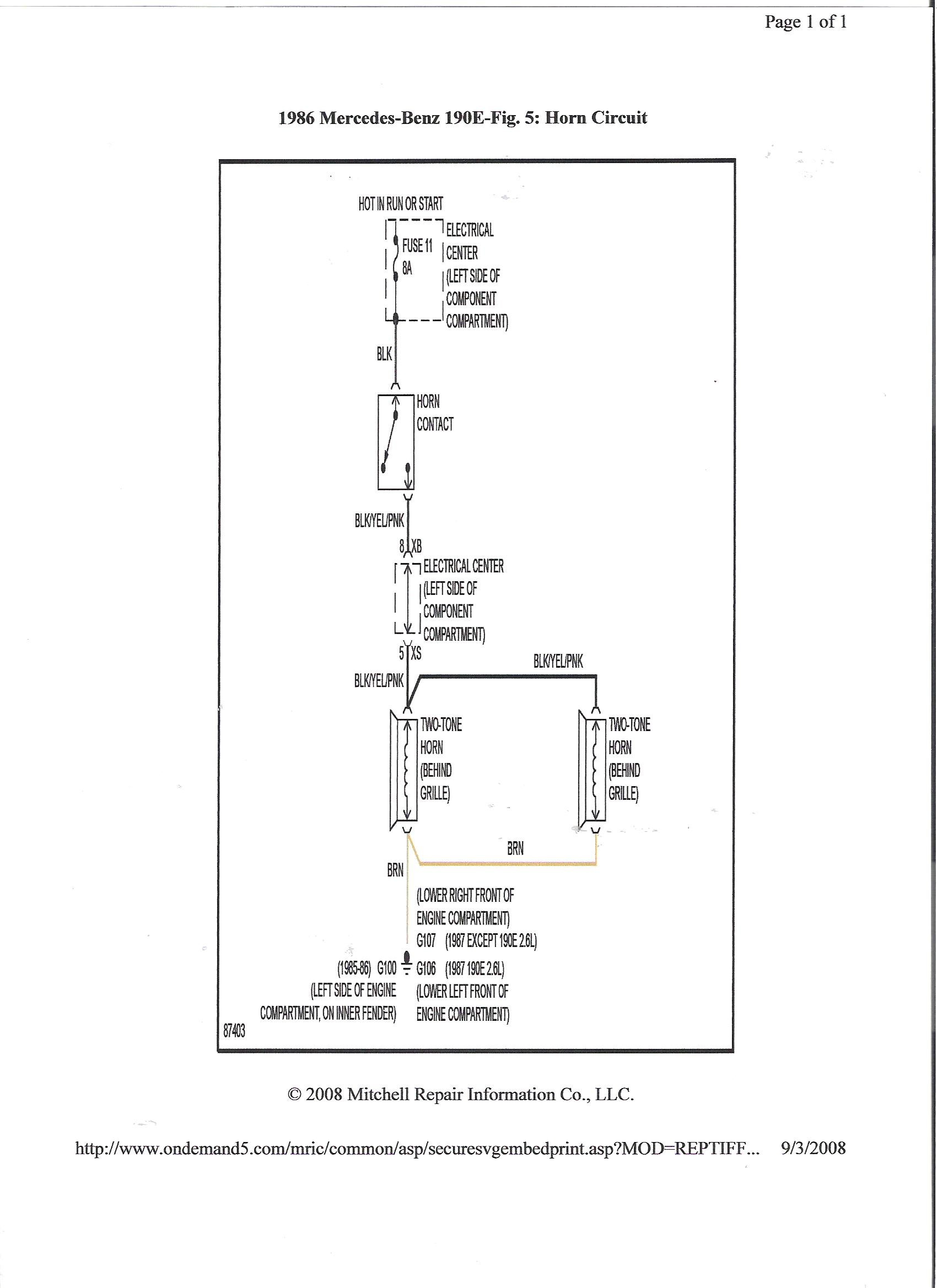 Where Is The Horn Relay Located On A 1986 190e Wiring Diagram For Mercedes Benz Thanks Joe Graphic
