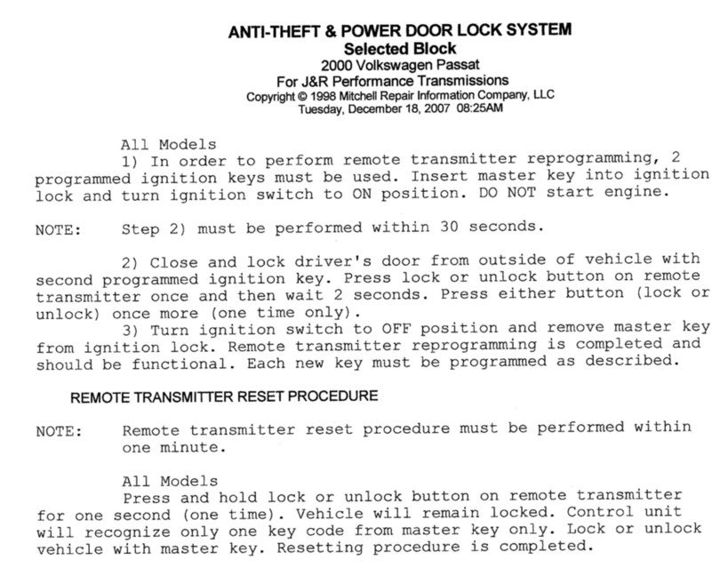vw passat anti theft system