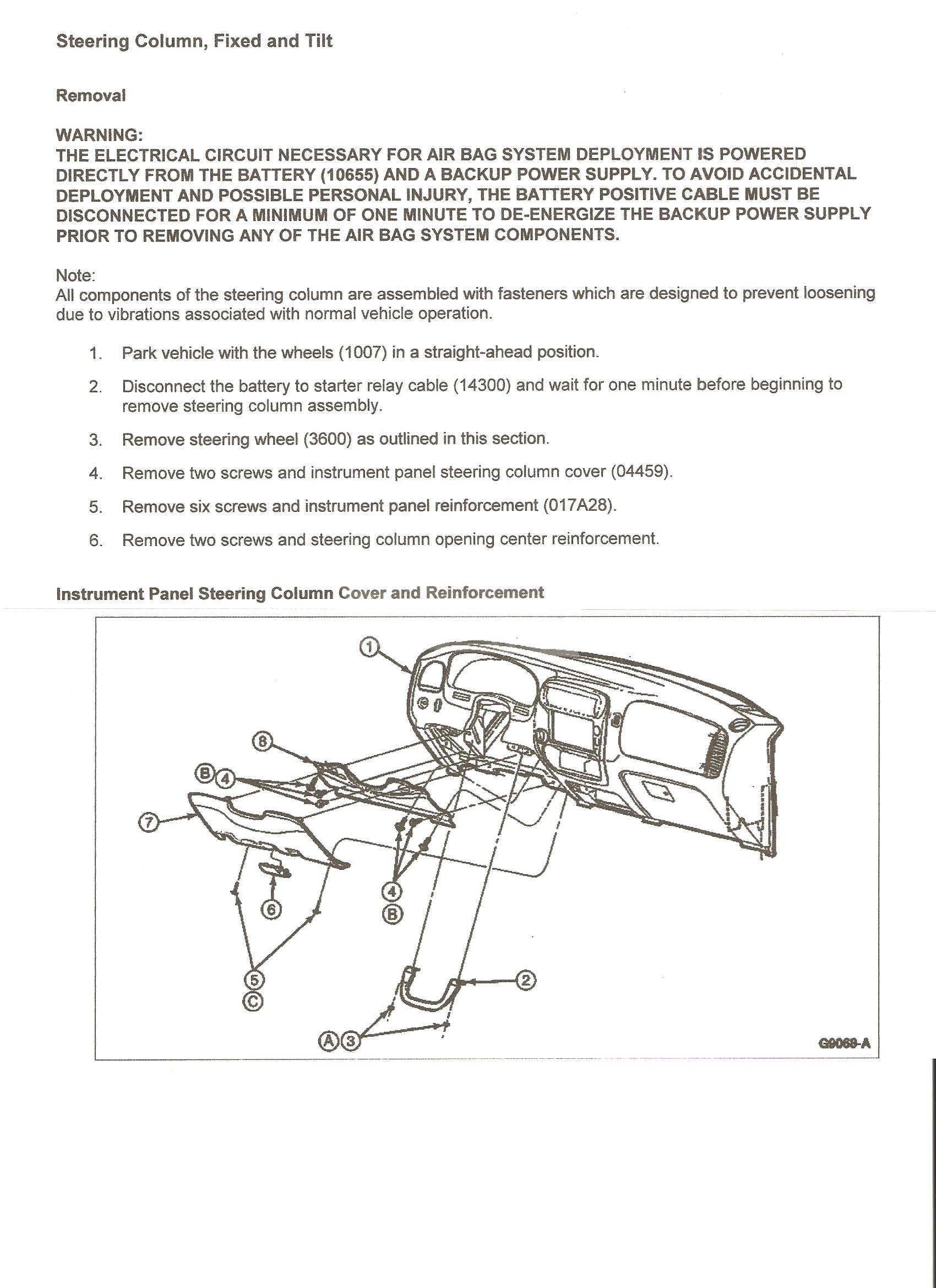 Need Instructions And Pics For Dis Assembly Of Steering Column 96 Ford Ranger Airbag Wiring Diagram Steve Graphic
