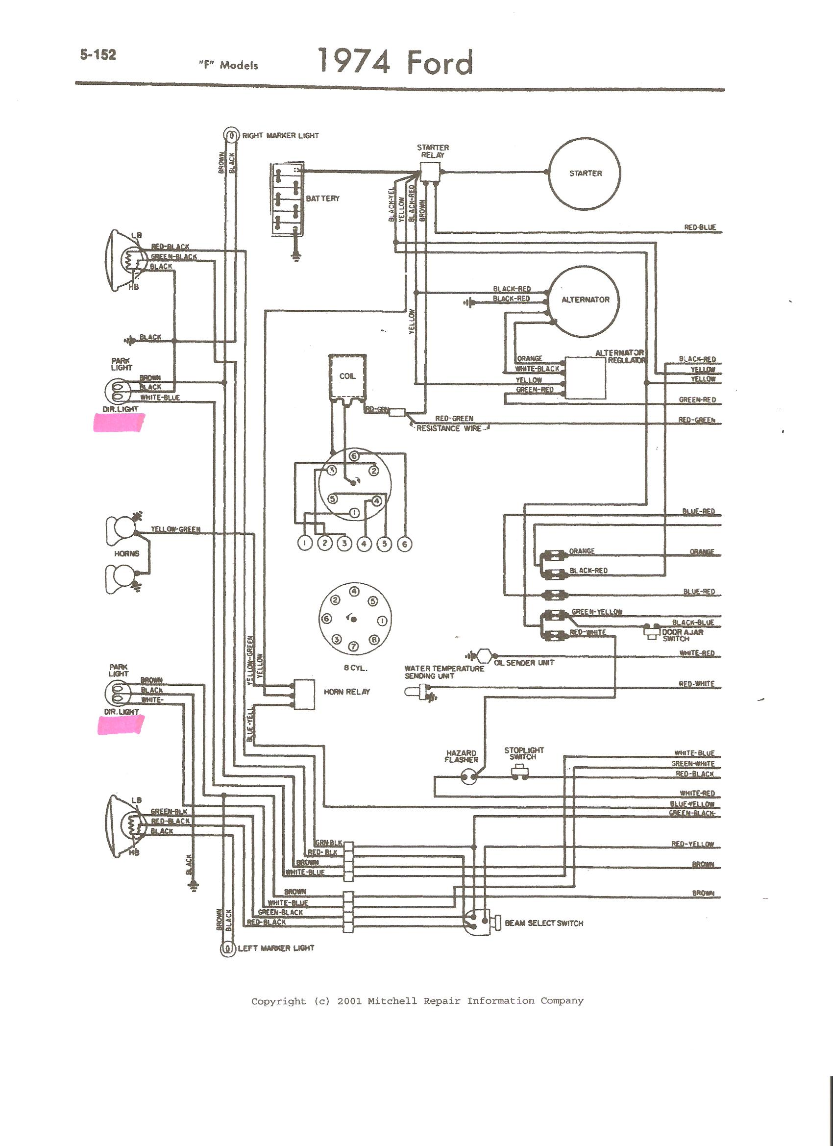i have a 1973 ford f100 pick up the signal light switch in the 74 f350 wiring diagram the only thing that i can come up with is a schematic of the entire truck i hope you can use it this is the best i can do for you sorry
