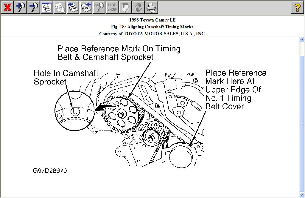 changed timing belt on 2 2 98 camry found two alingment marks. Black Bedroom Furniture Sets. Home Design Ideas