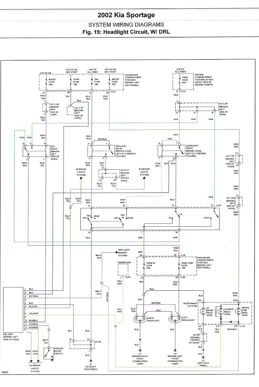 02 Kia Sportage Running Lights Fuse Diagram