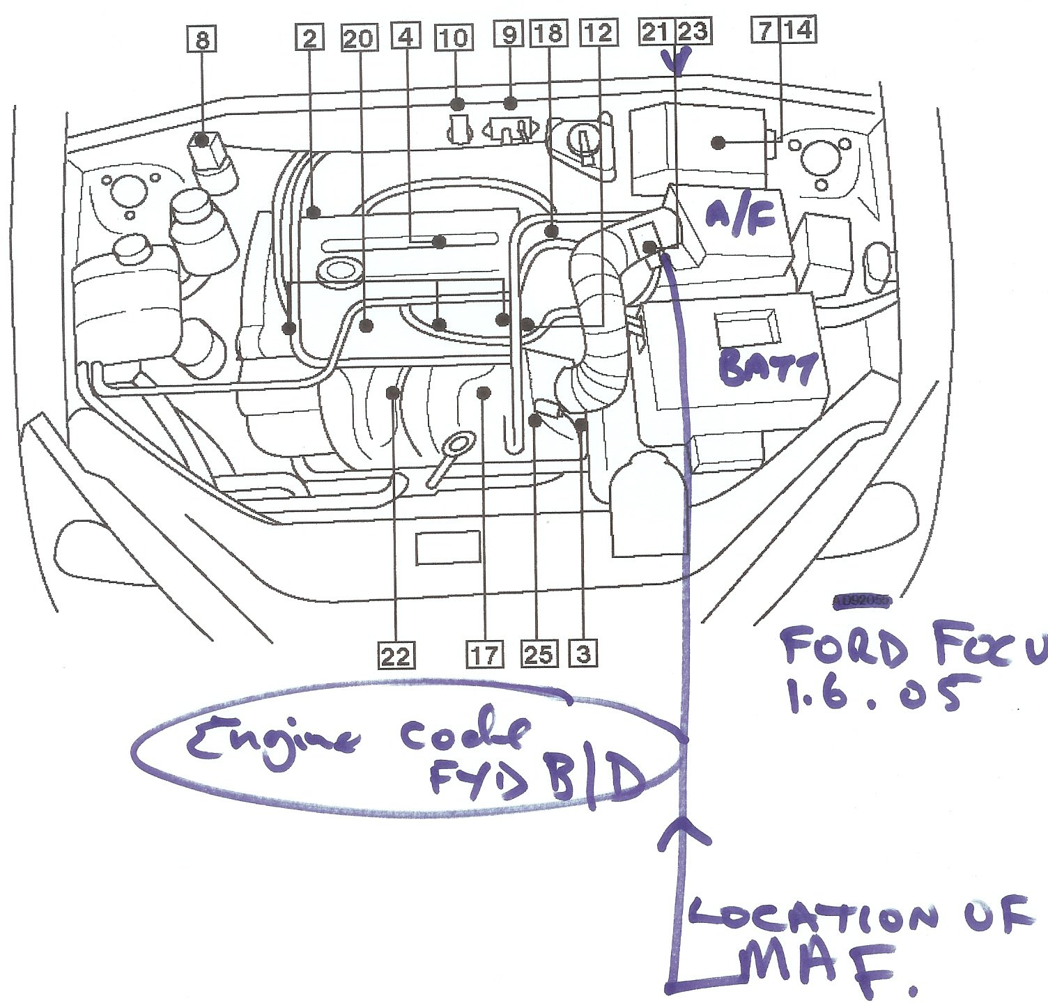 Ford Focus Engine Bay Diagram Wiring Library 4 6 1999 Maf Schematic1999