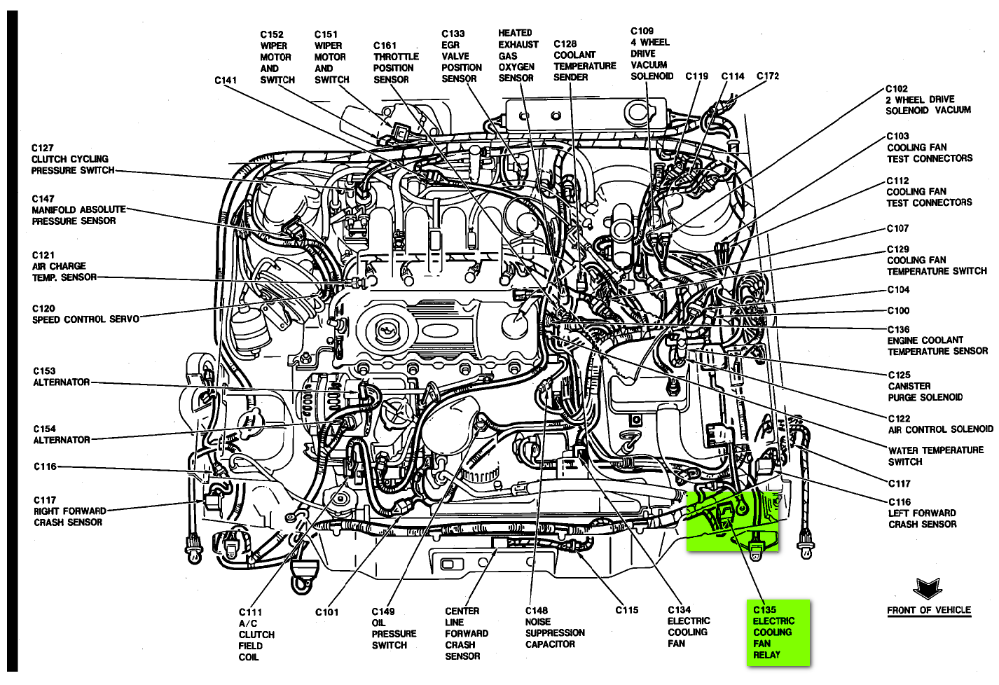 where is the radiator fan relay switch located on 1991