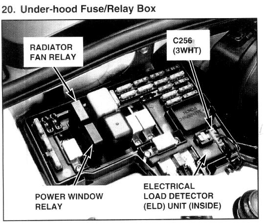 Where is coolant fan relay located on 97 honda accord lx for 1997 honda crv power window switch