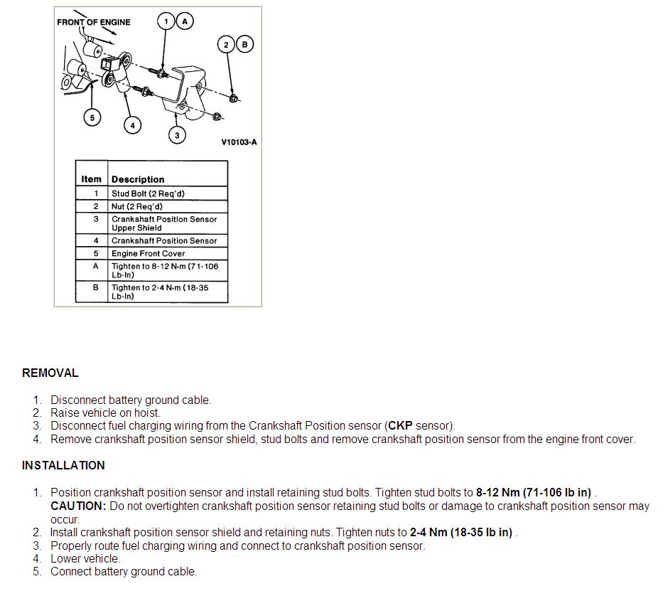 Where Is The Crankshaft Sensor Located On A 1998 Windstar