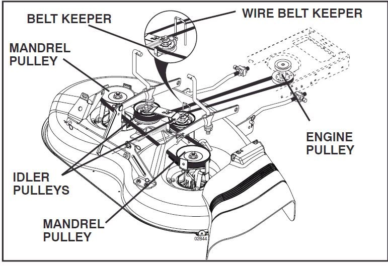 5mst1 Poulan Po15538lt De3ck Belt Adjustment Belt Tight furthermore How To Repair Improve And Modify The Steering On A Cub Cadet together with 175067 Craftsman Pto Cable Kit likewise Woods Finish Mower Parts Diagram in addition T5379500 John deere 112 belt diagram. on john deere 42 mower blades