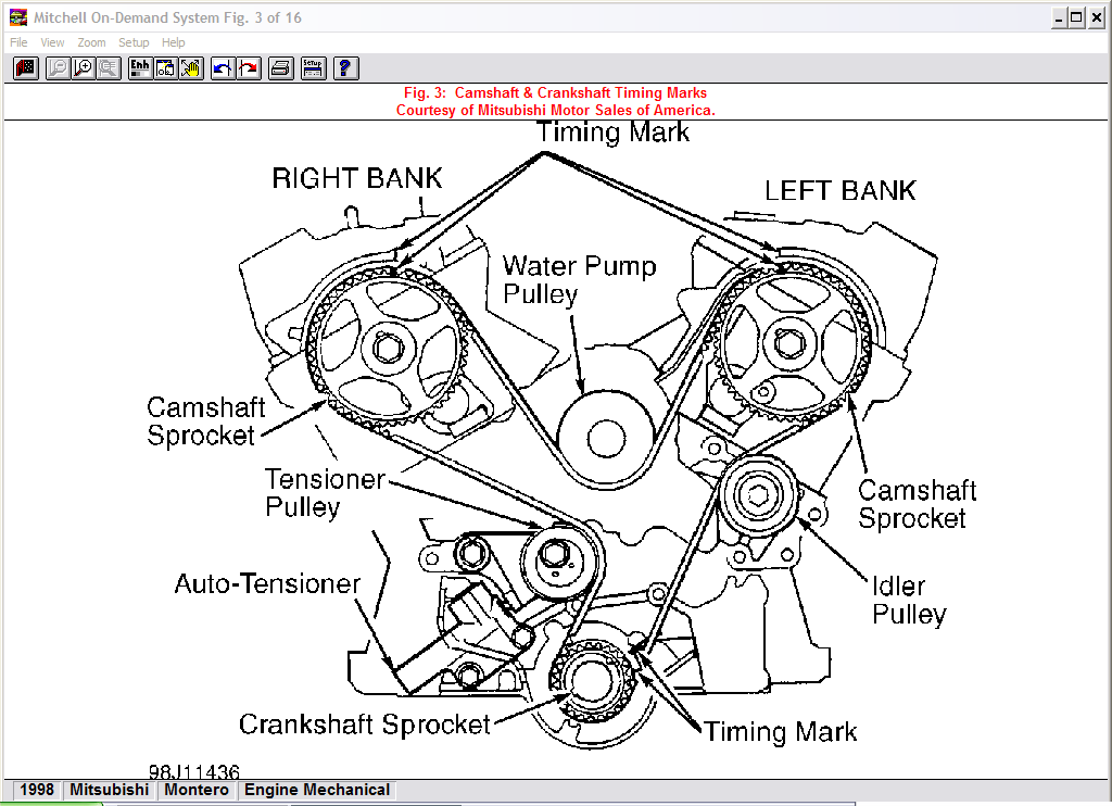 Mitsubishimontero 3 0 Timing Belt Change  What Is The Alignement Of Cam Shaft  U0026 Crankshaft  Is