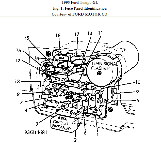 looking for fuse box diagram for 1993 ford tempo