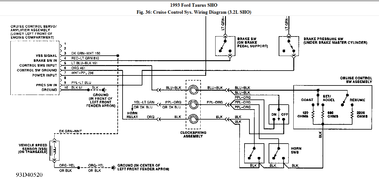 I Need A Wiring Diagram For Cruise Control On A 1993 Ford