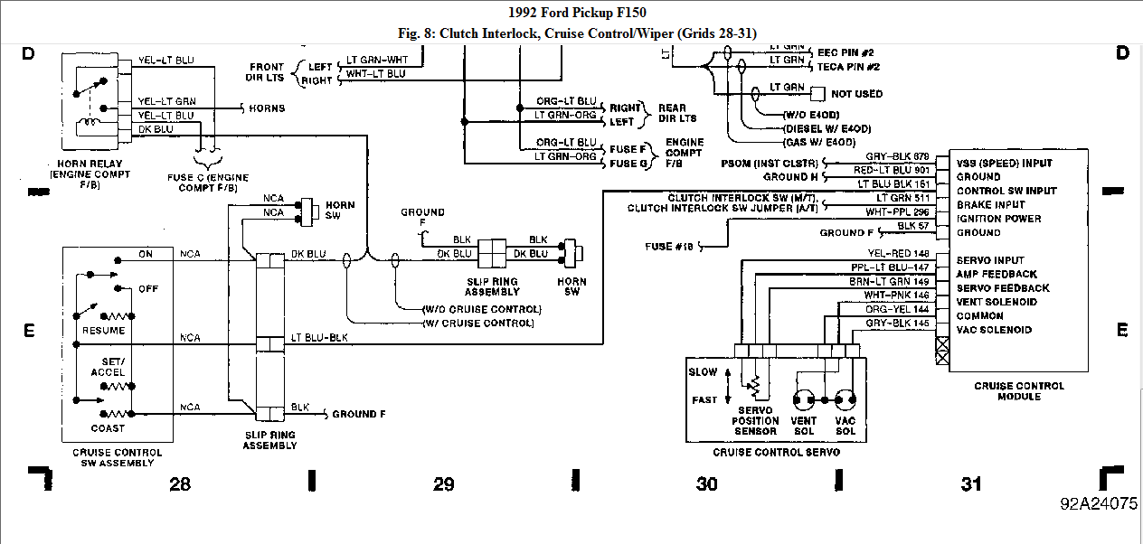 Need A Wiring Diagram For Connecting Cruise Control 92 F150