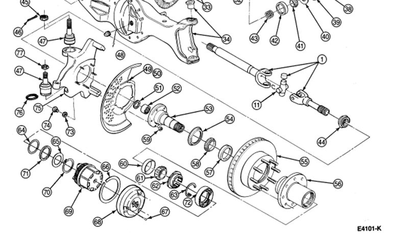 ford: master..4x4..diagram, and how do i change the spindle bearing