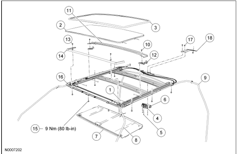 service manual  how to remove headliner from a 2008