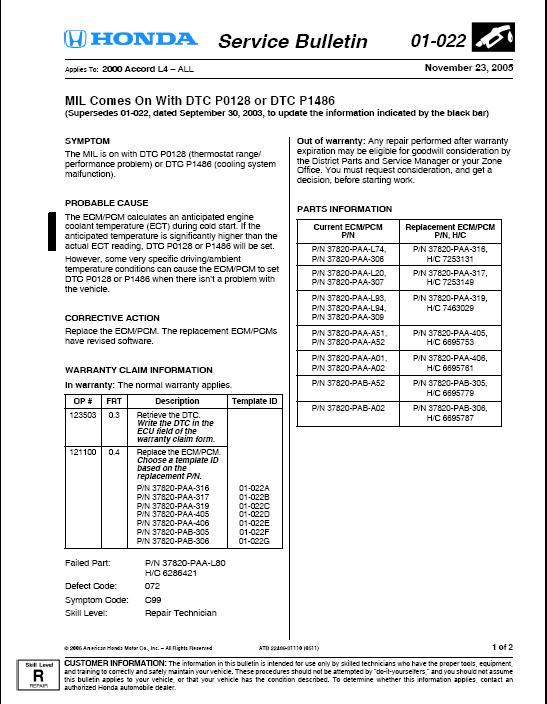 Honda accord engine code p1486