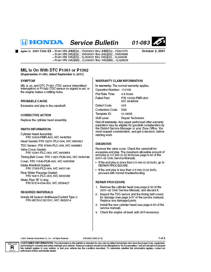 The Dealer Gave Me This  Tsb  Technical Service Bulletin