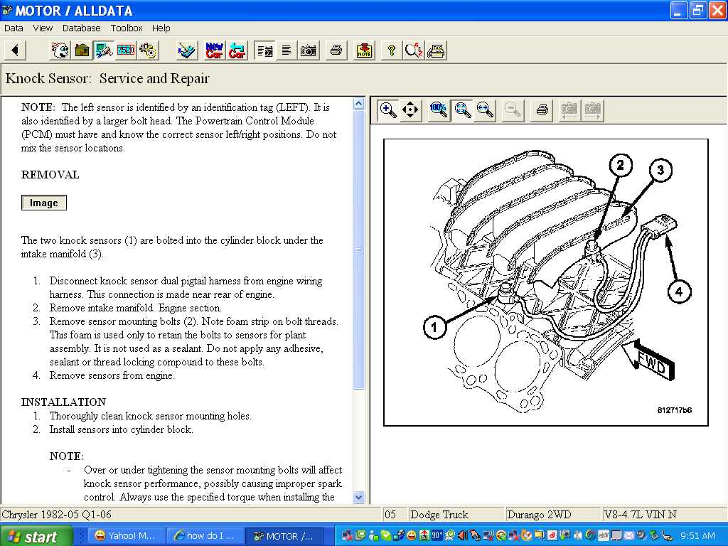 How Do I Install A Knock Sensor For My 2005 47 Liter Durango 05 Lighting Wiring Diagram Graphic