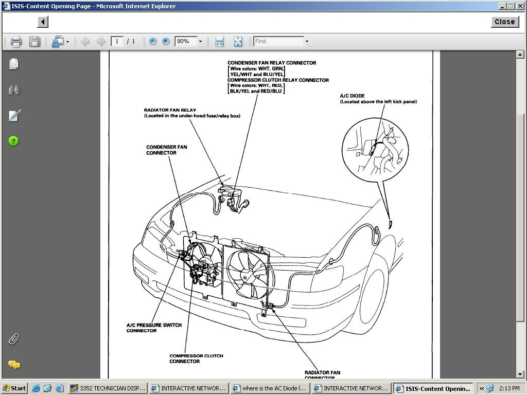 Where Is The Ac Diode Located On A 1995 Honda Accord With A 2 7 L V