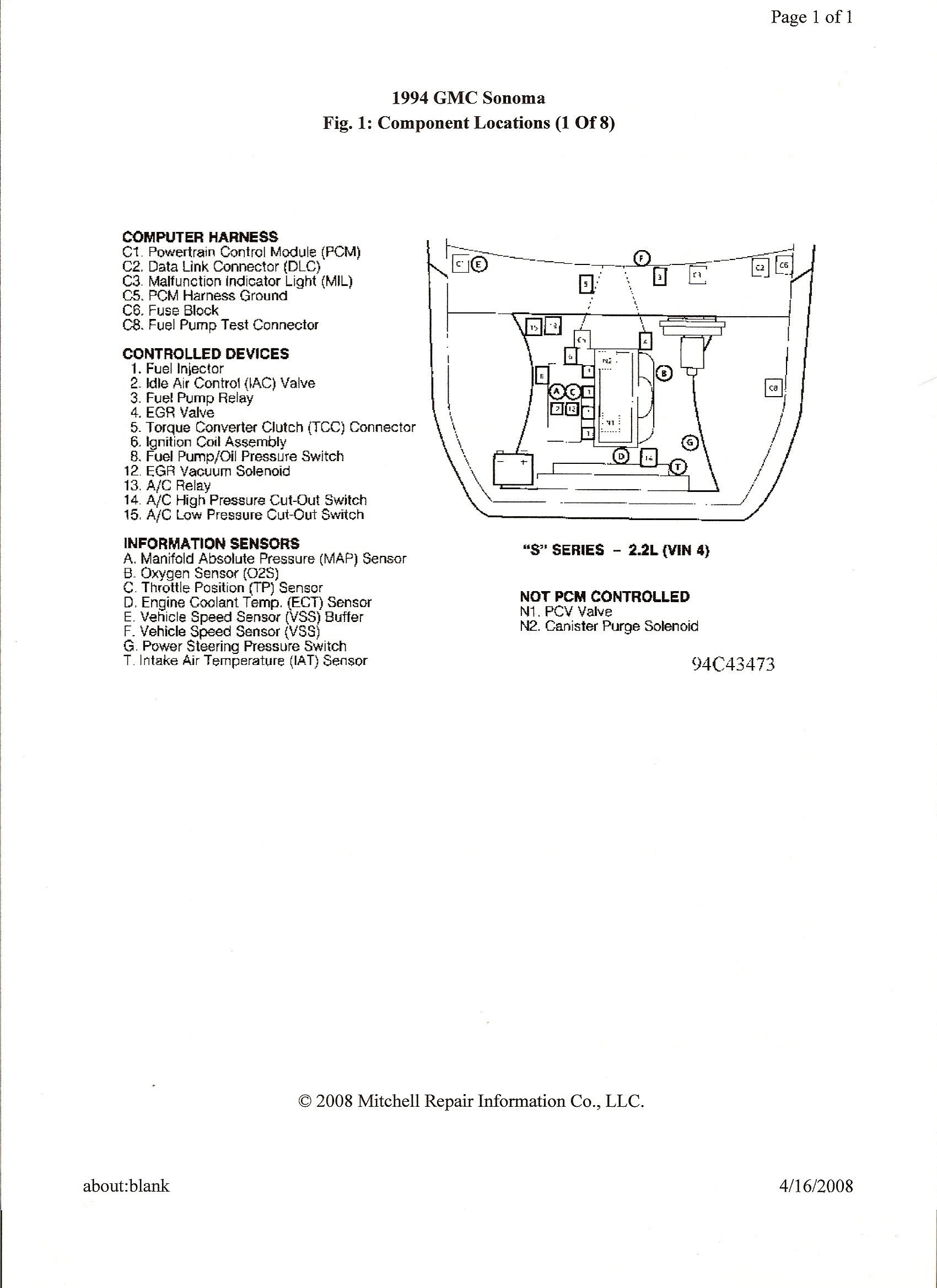 Im Working On A 1994 Gmc Sonoma With 22 And 5 Speed Trans I Oxigen Sencer 2000 Jimmy Wiring Harness Graphic
