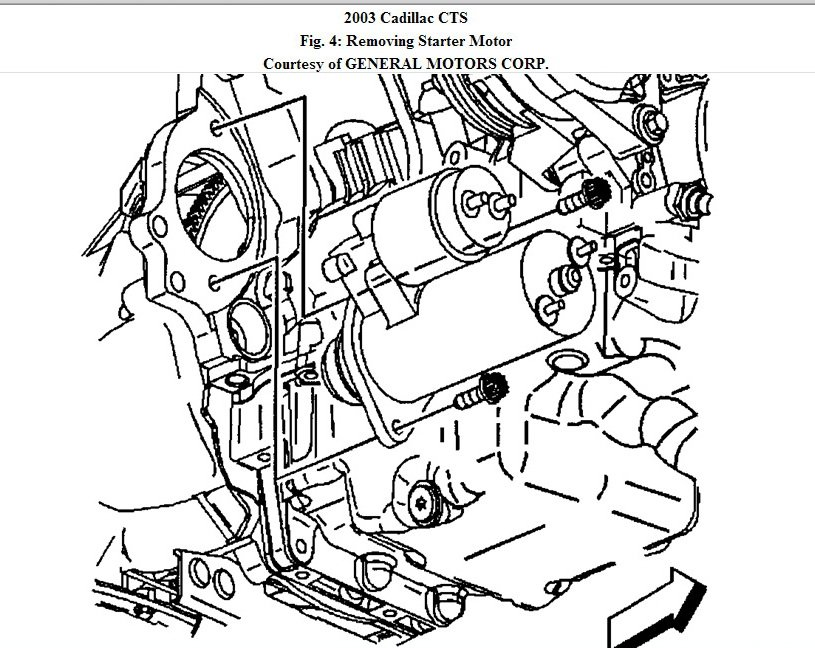 service manual  remove starter 2009 cadillac cts