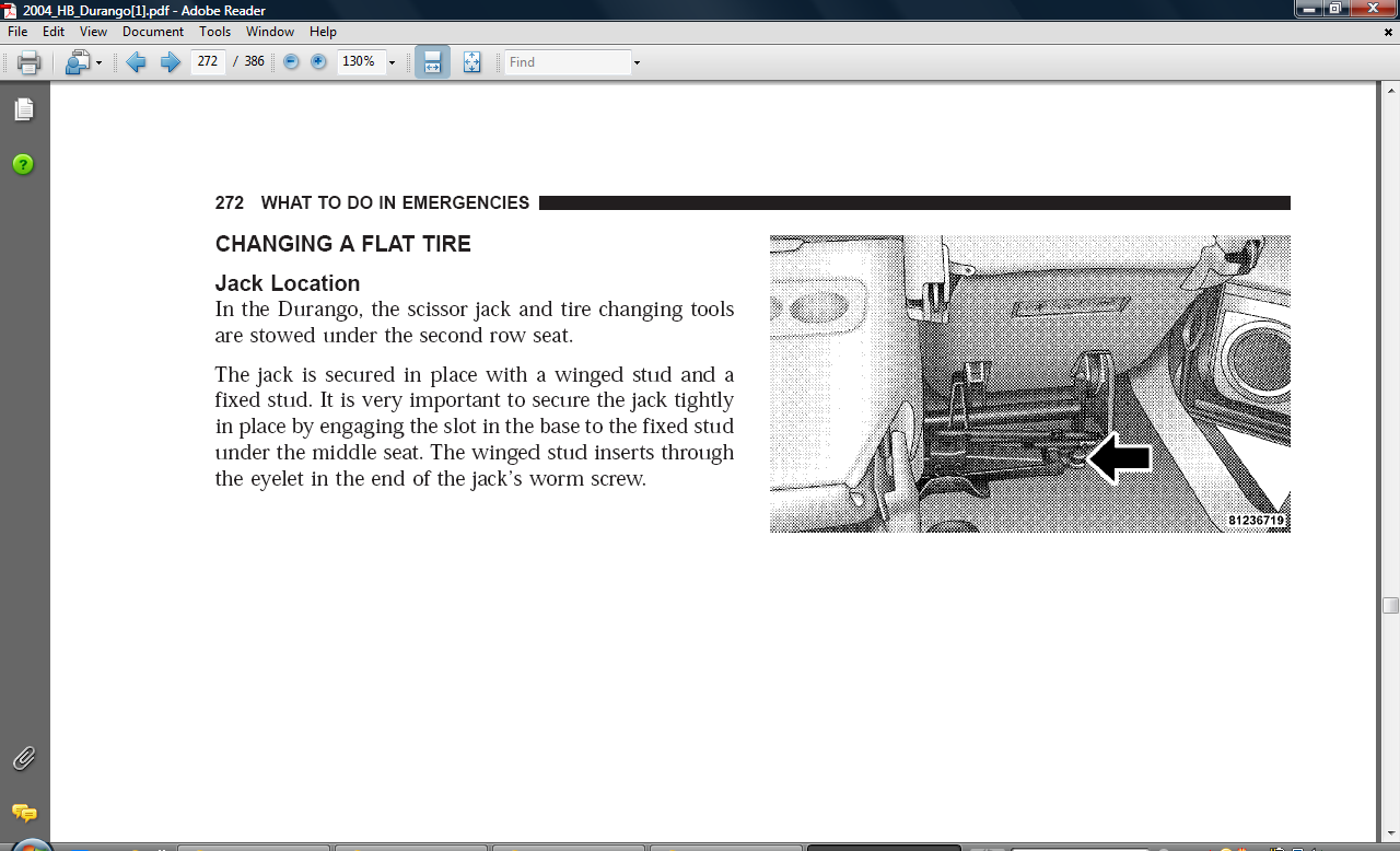 Jack on 05 Dodge Durango Manual