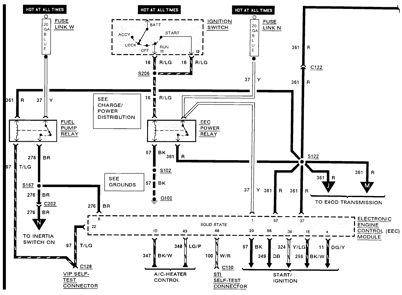 I Have A 91 F250 W 351 Fuel Pressure Is Good On Rail But Injectors 1990 Ford Bronco Ii Wiring Diagram Hello Am Attaching 2 Diagrams Check Circuit 361 The Primary Side Of Relay This What Activates And