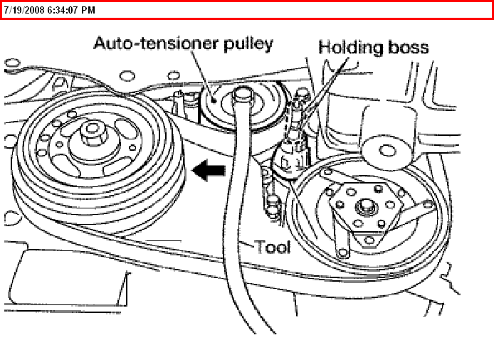 How do I loosen the belt tensioner on a 2005 Nissan Altima 2.5L?