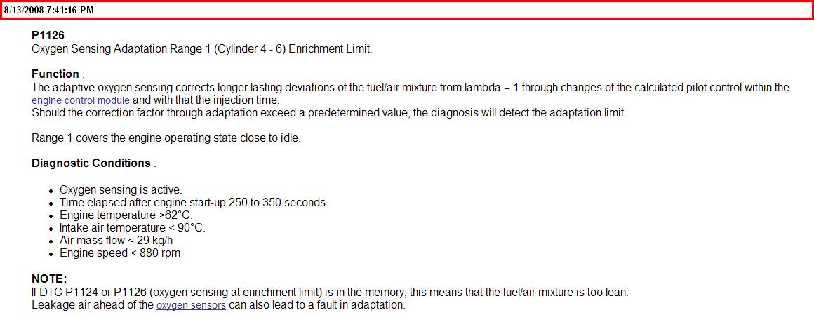 1999 porsche boxster P1126 fault code, what does it mean?