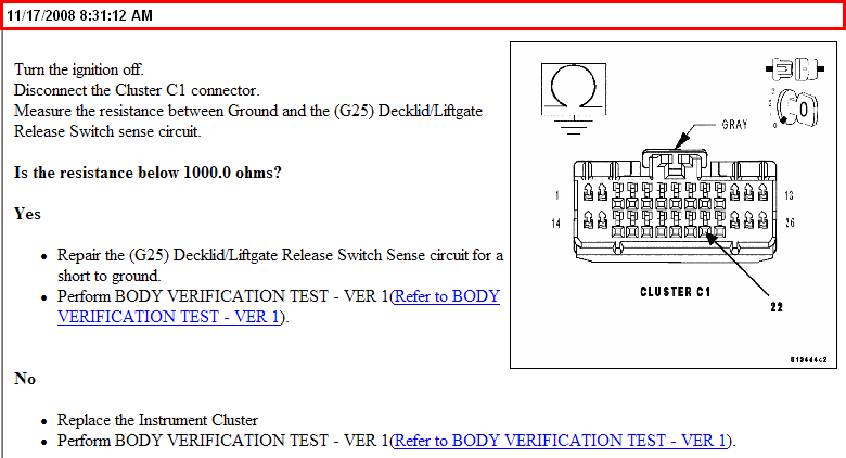 2005 Chrysler 300c Trunk Release Solenoid Will Not Activate With Rhjustanswer: 2005 Chrysler 300c Cluster Wiring Diagram At Taesk.com