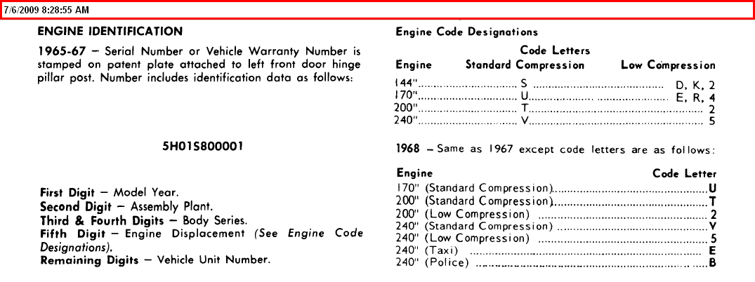 How do i decode the vin on my 1965 ford econoline pick up