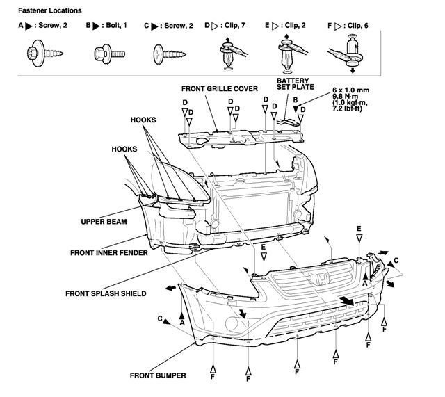 2003 honda accord front bumper diagram html